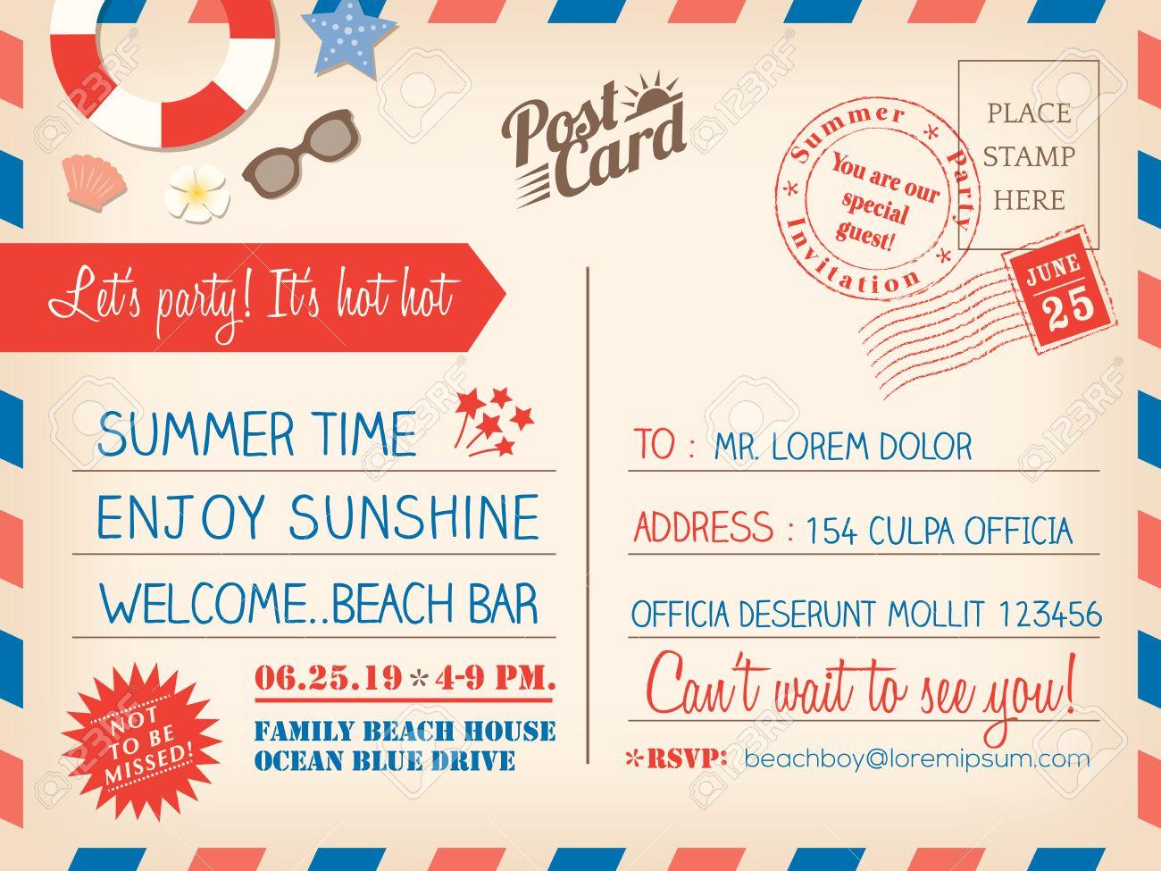 Weinlese Sommerferien Postkarte Hintergrund Vektor Vorlage Für  Einladungskarte Standard Bild   28919211