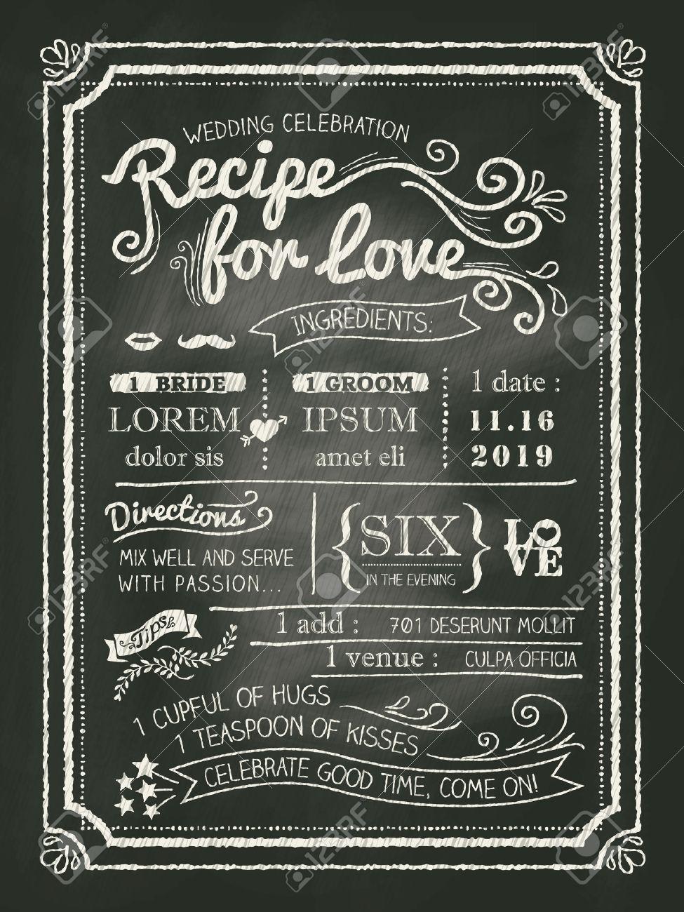 Recipe chalkboard wedding invitation card background royalty free recipe chalkboard wedding invitation card background stock vector 28919230 filmwisefo Choice Image