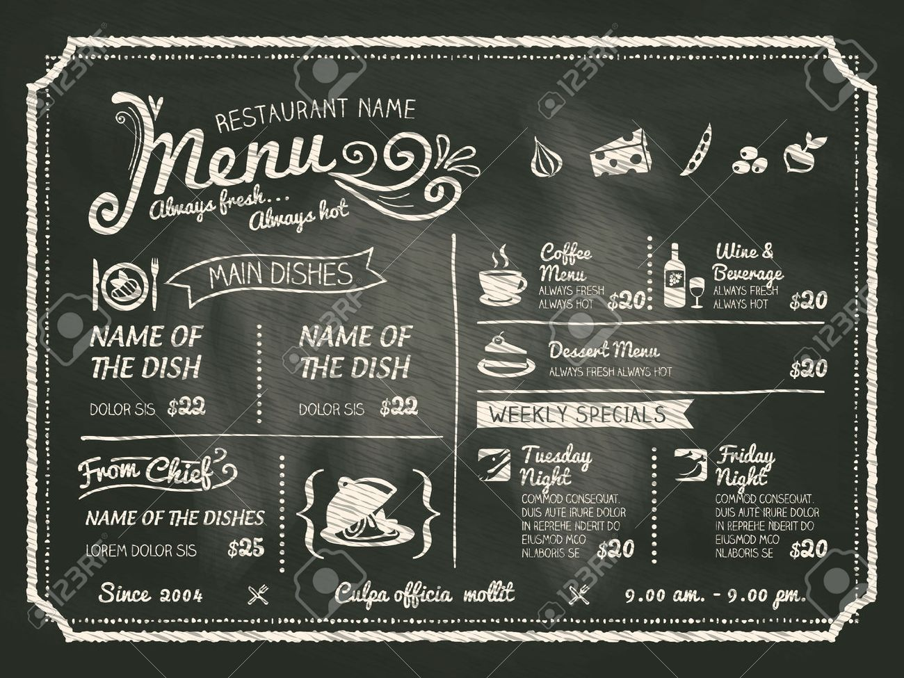 restaurant food menu design with chalkboard background royalty free