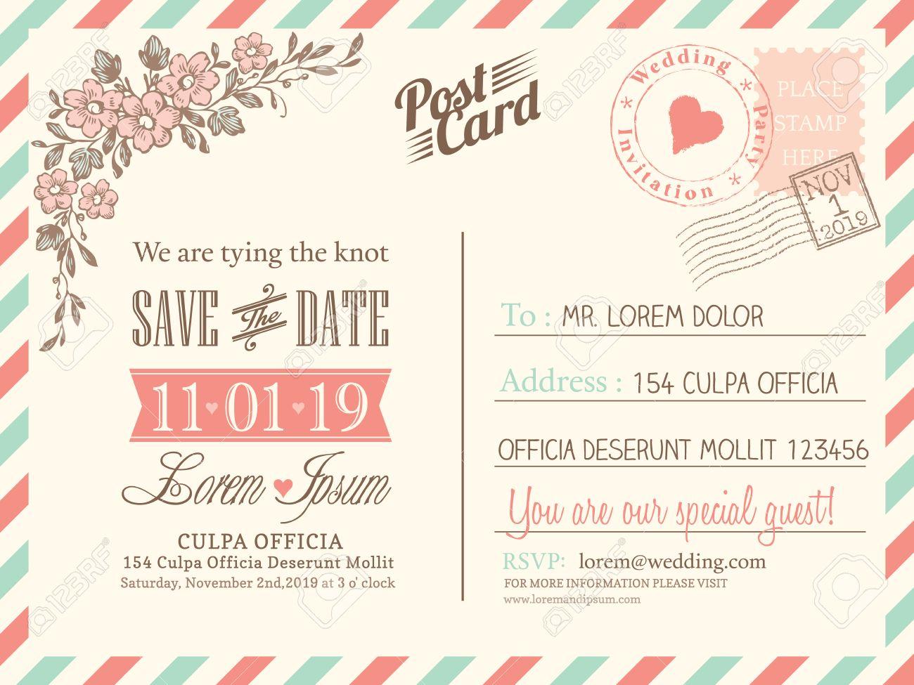Einladung: Vintage Postkarte Hintergrund Vektor Vorlage Für  Hochzeitseinladung
