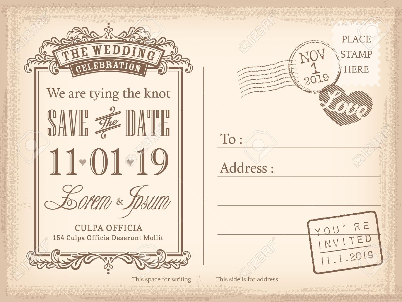 vintage postcard save the date background for wedding invitation stock vector 29619292 - Save The Date Wedding Invitations