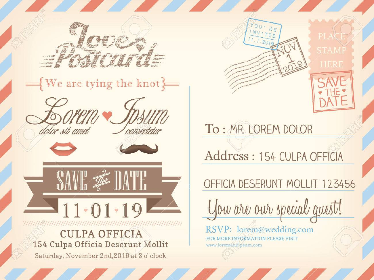 Vintage airmail postcard background template for wedding invitation..