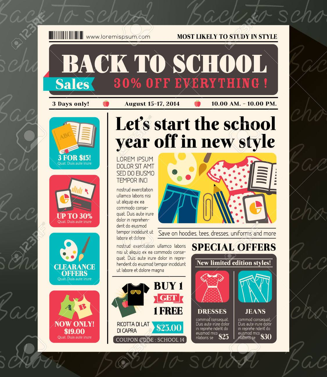 Back To School Sales Promotional Design Template In Newspaper