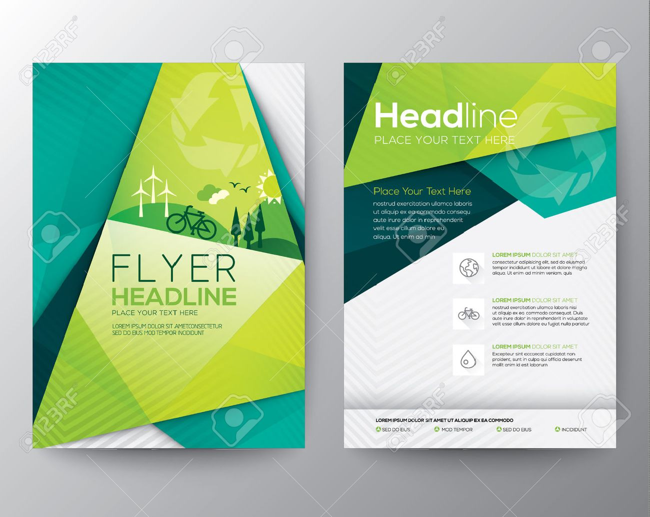 abstract triangle brochure flyer design template in a4 size royalty
