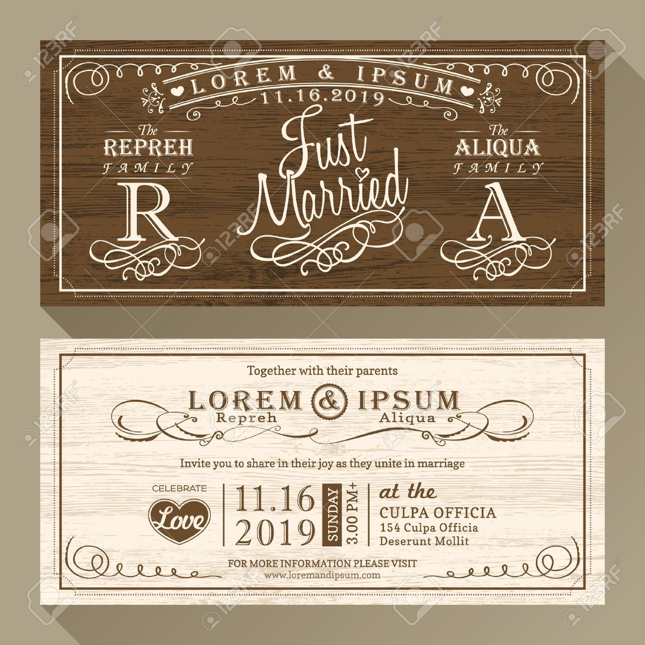 Vintage Wedding Invitation Card Border And Frame Design Template