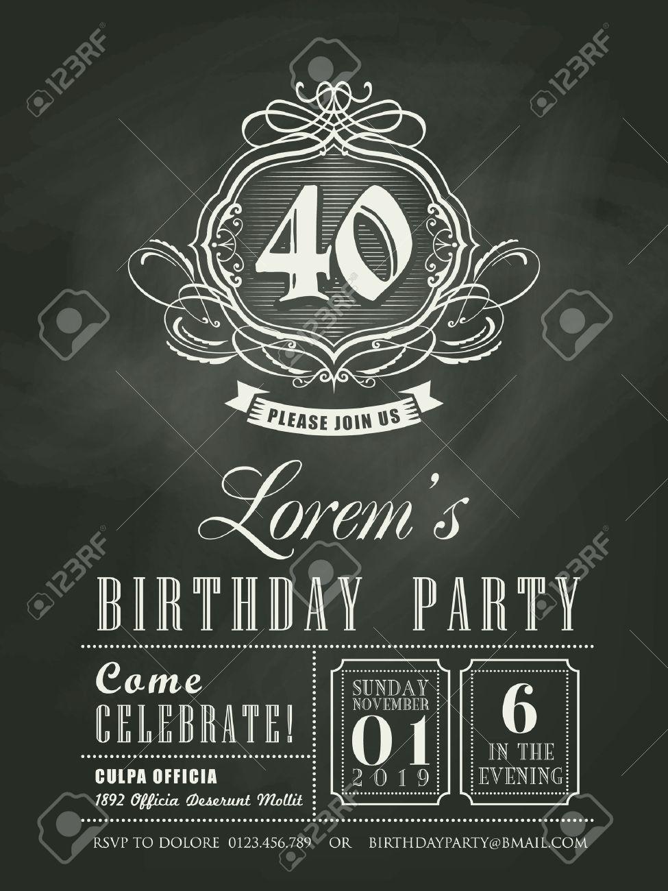 Fondo De Pizarra De Tarjeta De Invitación De Cumpleaños De Aniversario