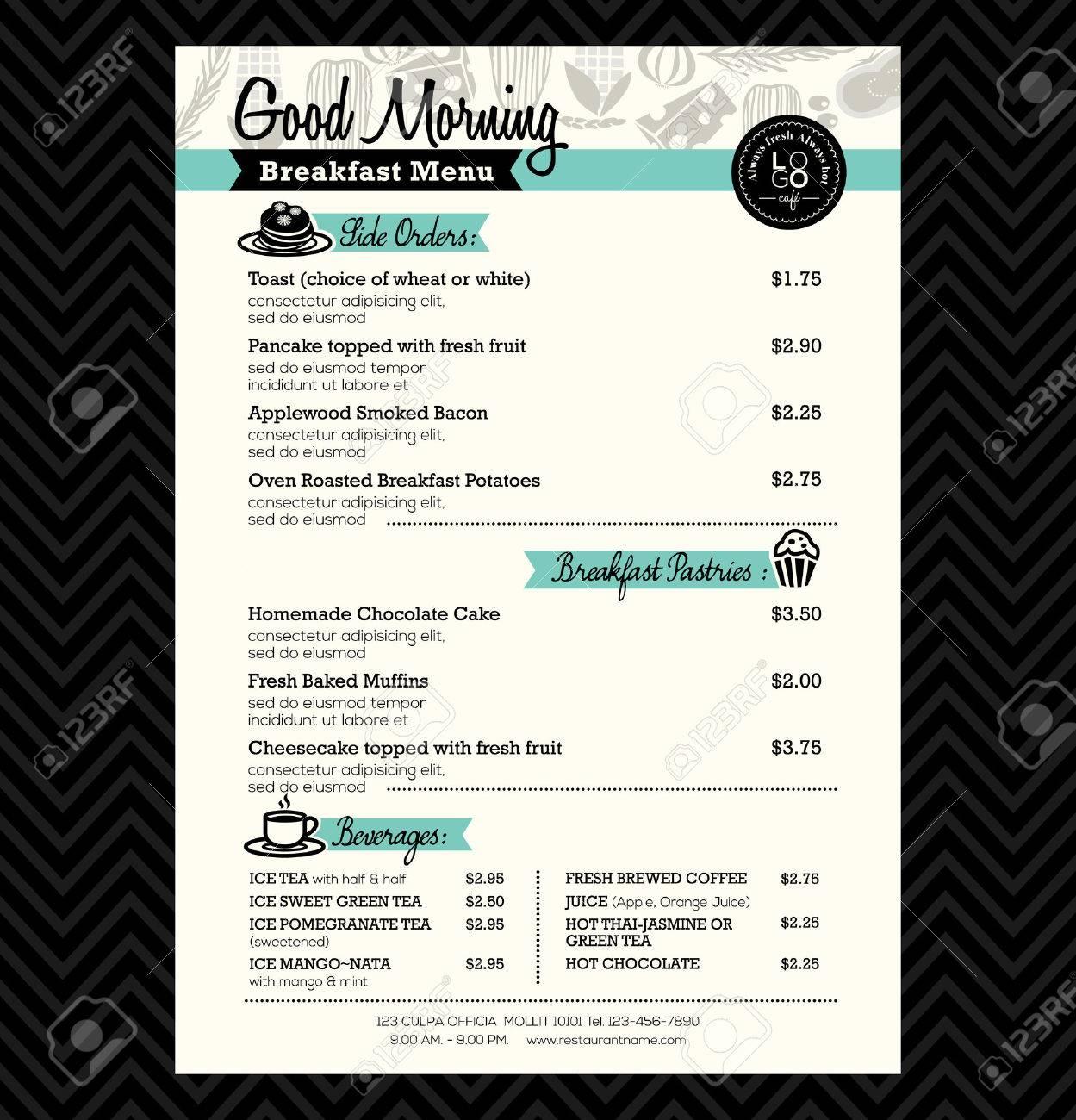 Restaurant Frühstück Menü-Design-Vorlage Layouts Lizenzfrei Nutzbare ...