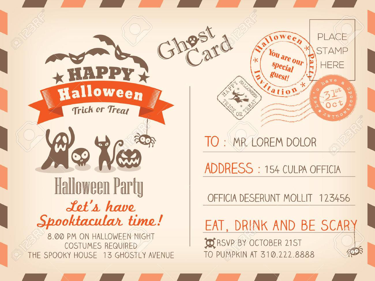 Happy Halloween Vintage Postcard Invitation Background Design Layout Stock Vector