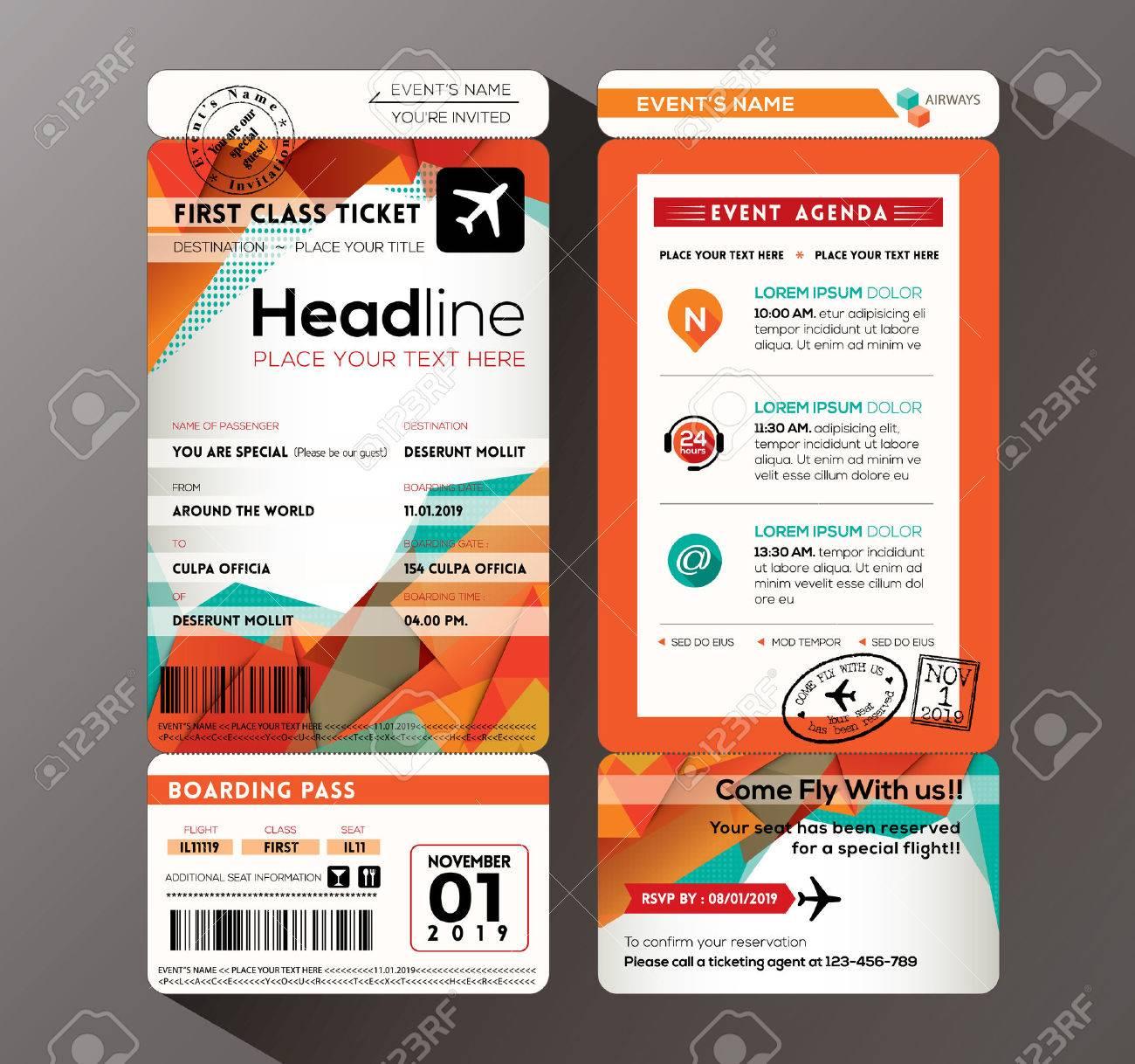 Modern Design Boarding Pass Ticket Event Invitation Card Vector – Ticket Size Template