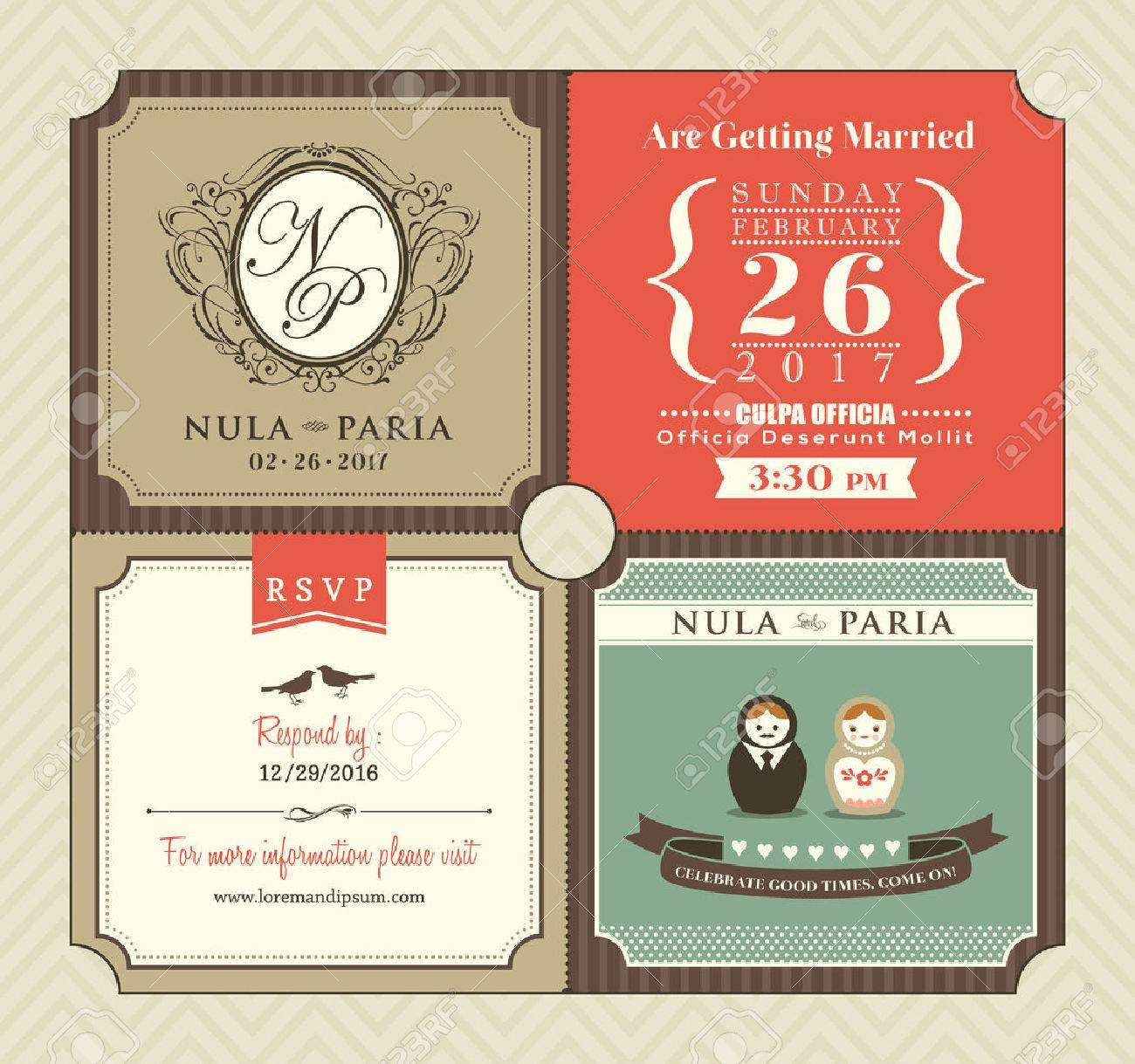 Vector   Vintage Style Wedding Invitation Card Template Vector