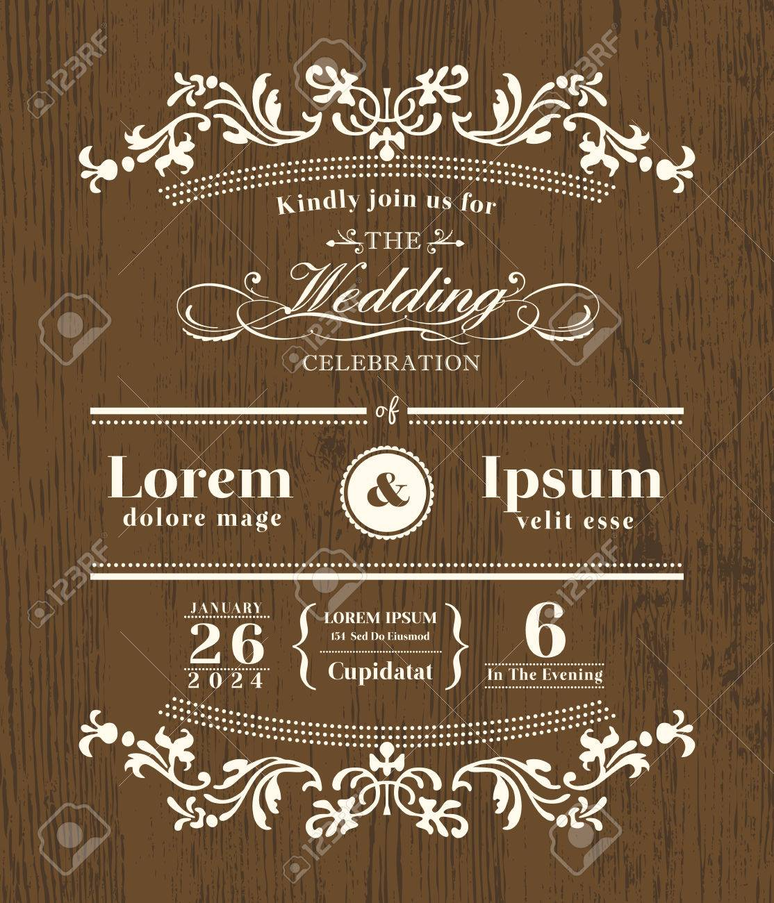 Vintage Typography Wedding Invitation Design Template On Wooden ...
