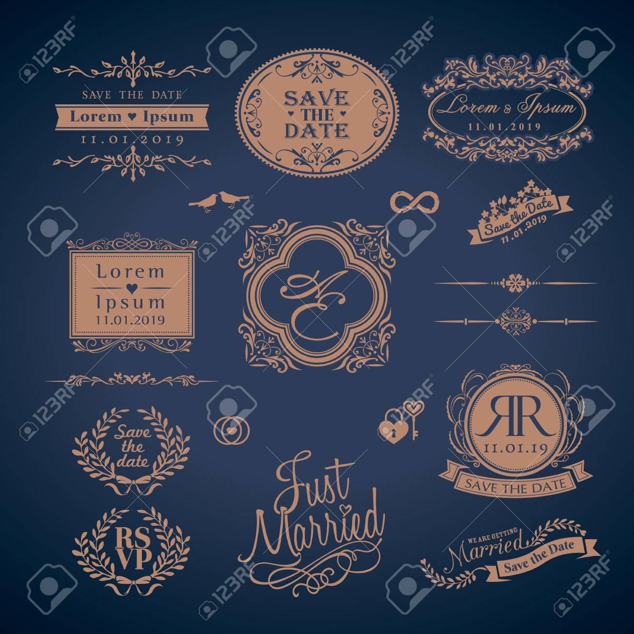 Vintage Style Wedding Monogram symbol border and frames - 31706129