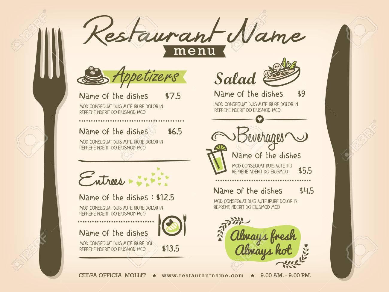Restaurant Placemat Menu Design Template Layout Royalty Free - Menu layout templates free