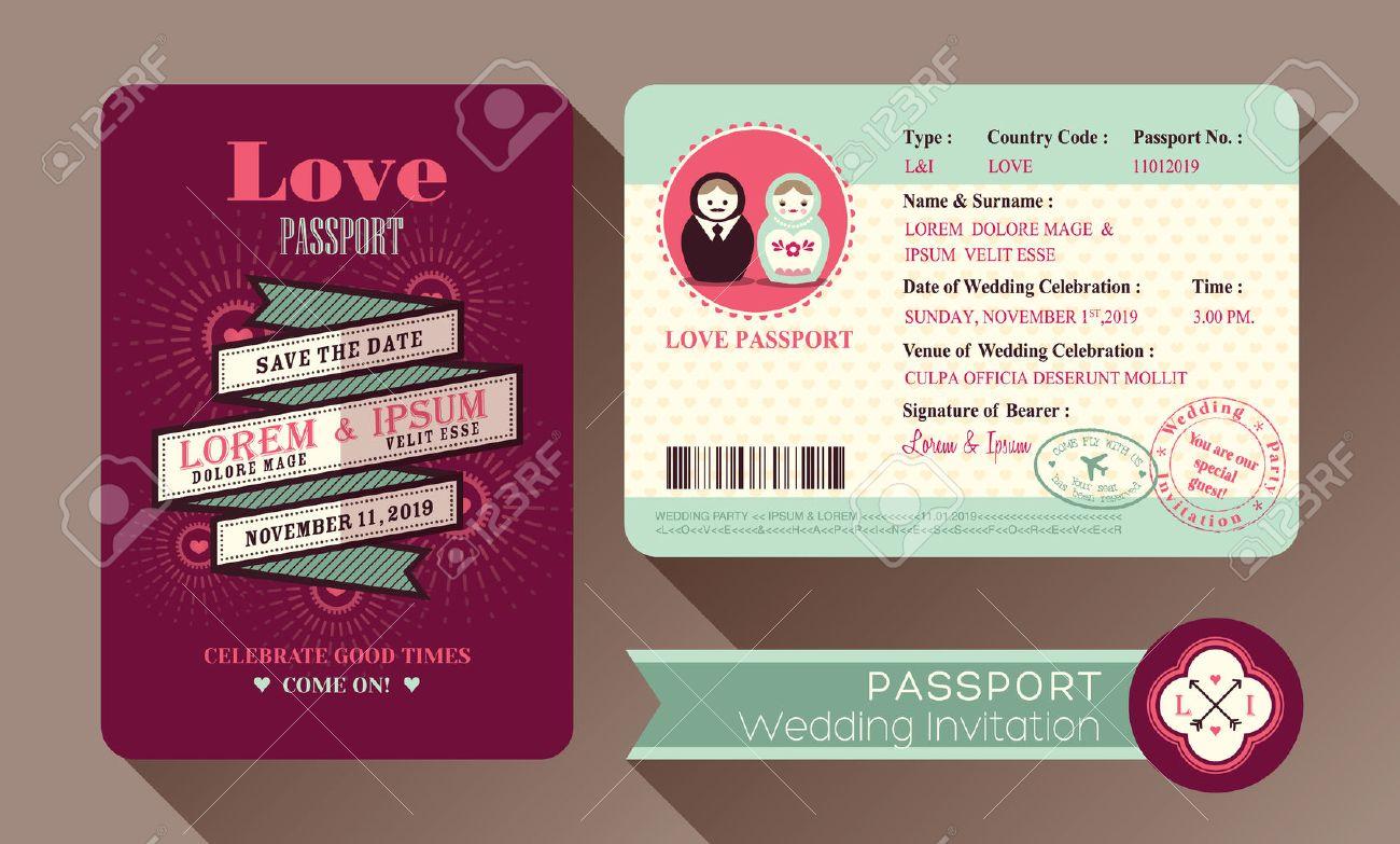 Diseño De Tarjeta De Invitación De Boda Retro Visa Pasaporte