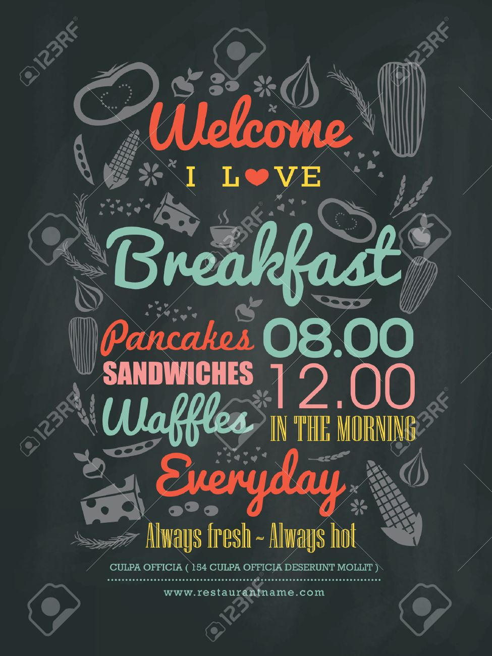breakfast cafe menu design typography on chalk board vector