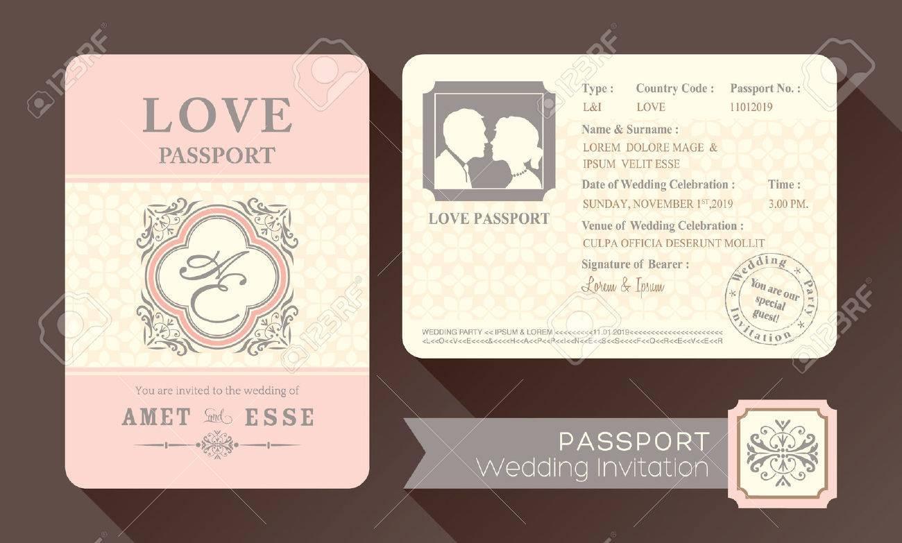 Vintage Visa Passport Wedding Invitation Card Design Template – Wedding Invitation Cards Designs Templates