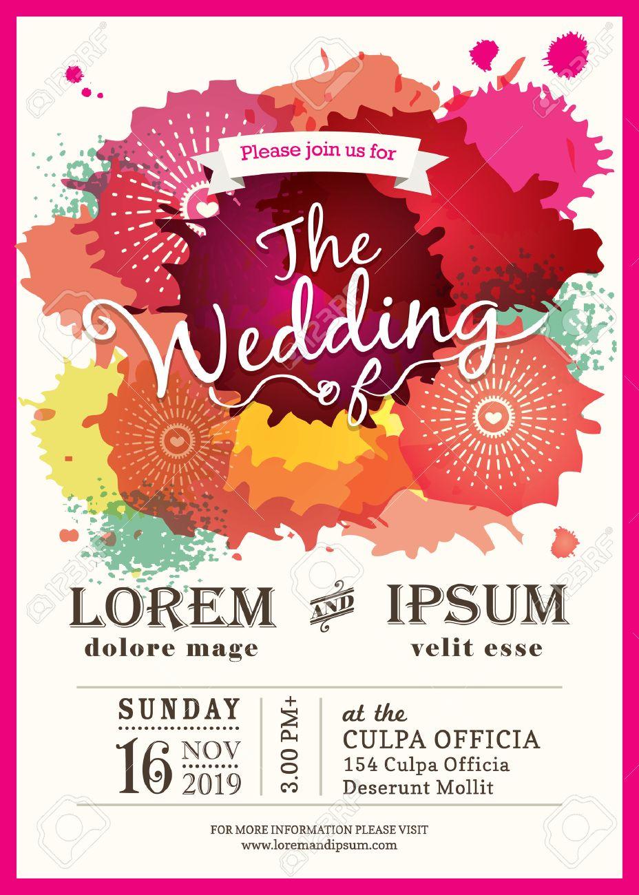 Color Splash Wedding Party Invitation Card Background Royalty Free