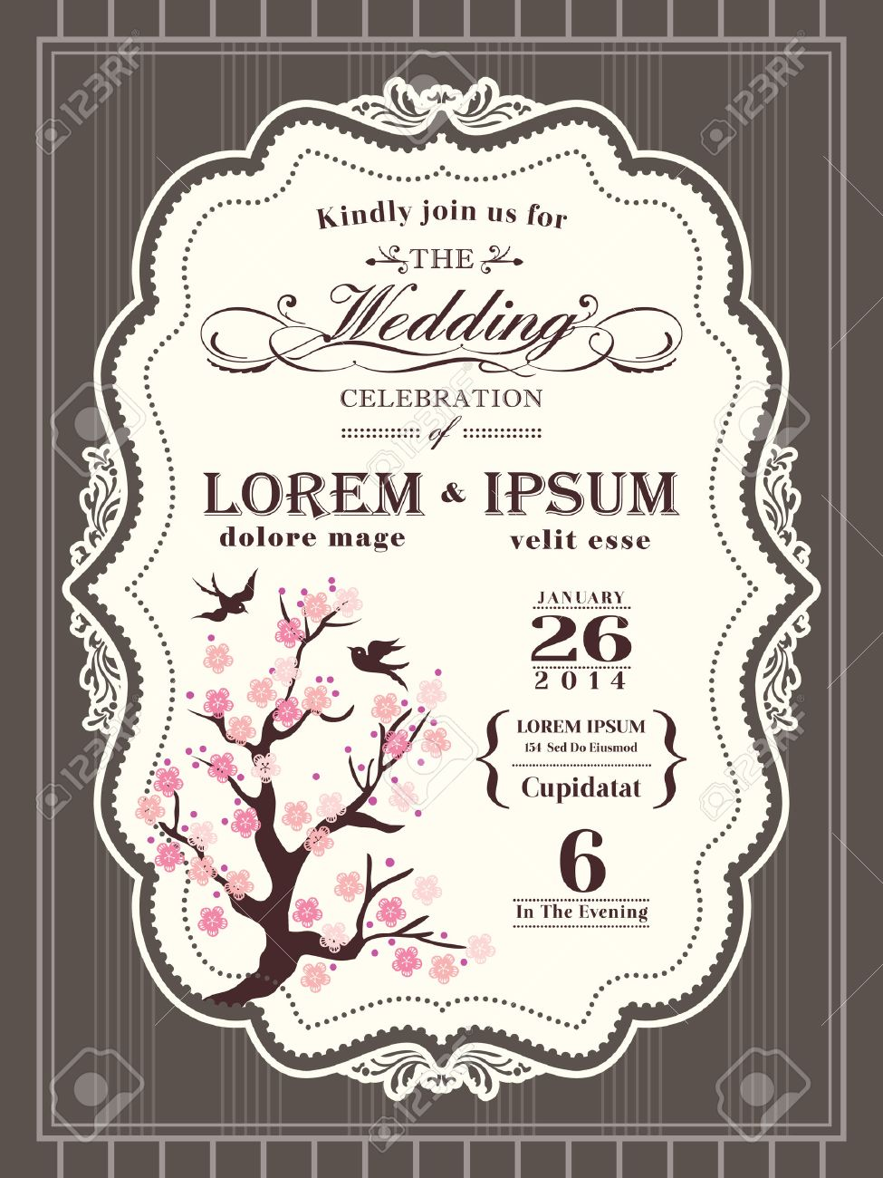Vintage Cherry Blossom Wedding Invitation Card Border And Frame ...