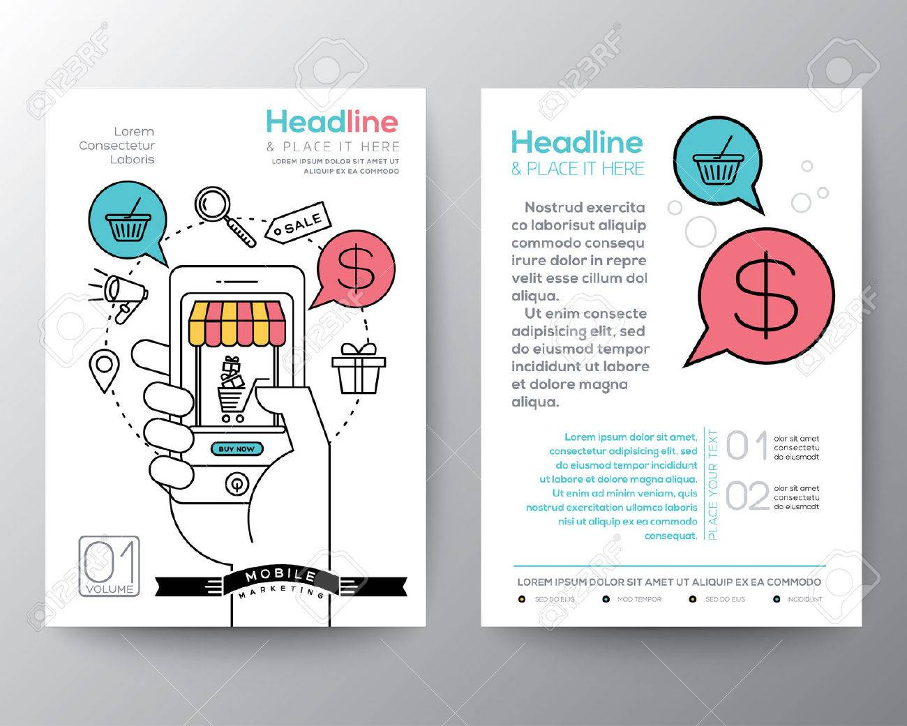 brochure flyer design layout template in a4 size with online