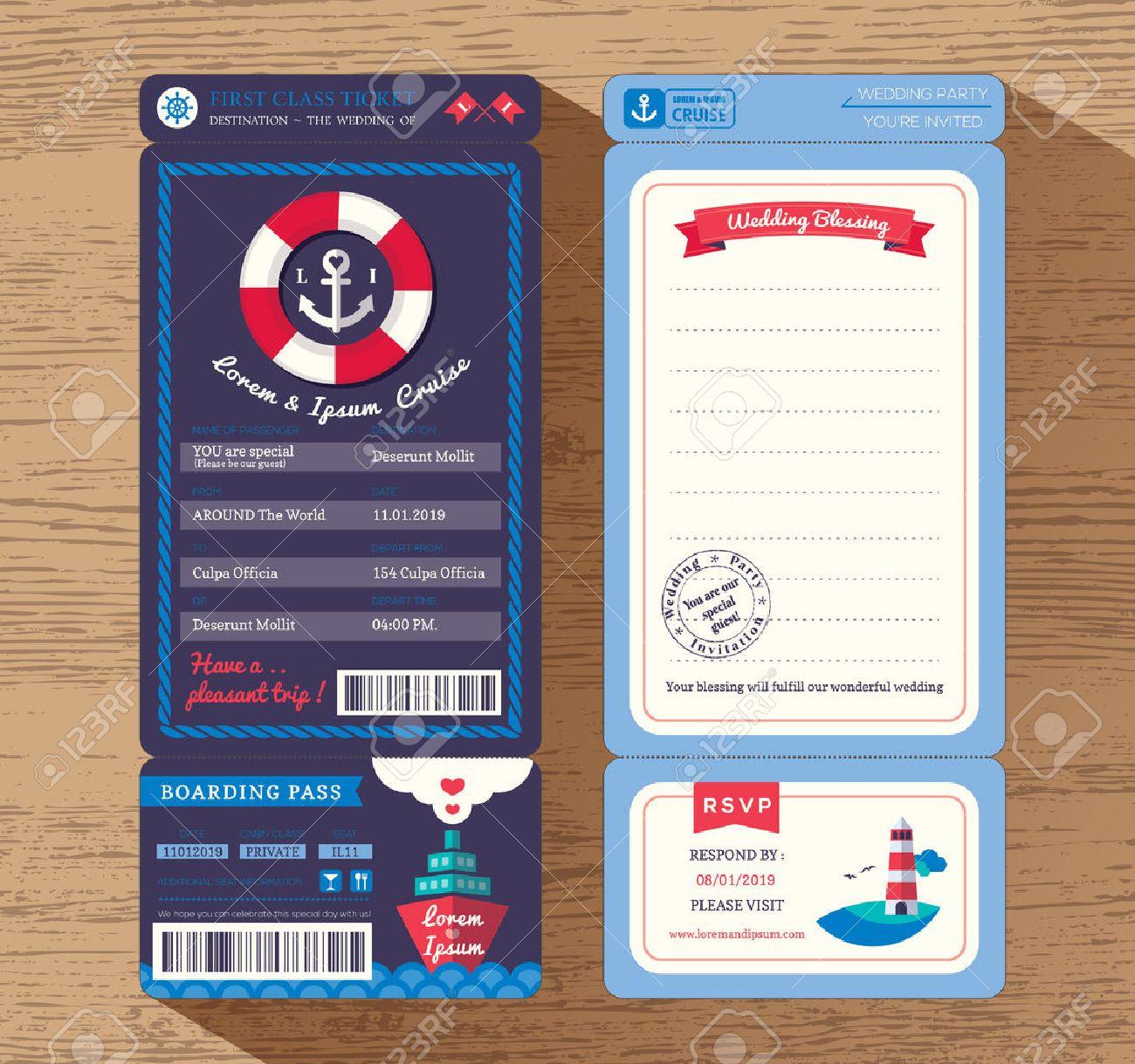 Cruise Ship Boarding Pass Ticket Wedding Invitation Design – Ticket Design Template