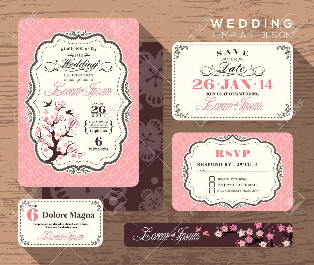 Vintage wedding invitation set design Template Vector place card response card save the date card - 35322381