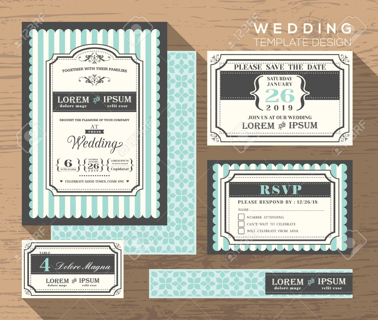 35428669 wedding invitation set design Template place card response card save the date card Stock Vector wedding invitation set design template place card response card,Invitation And Response Card Set