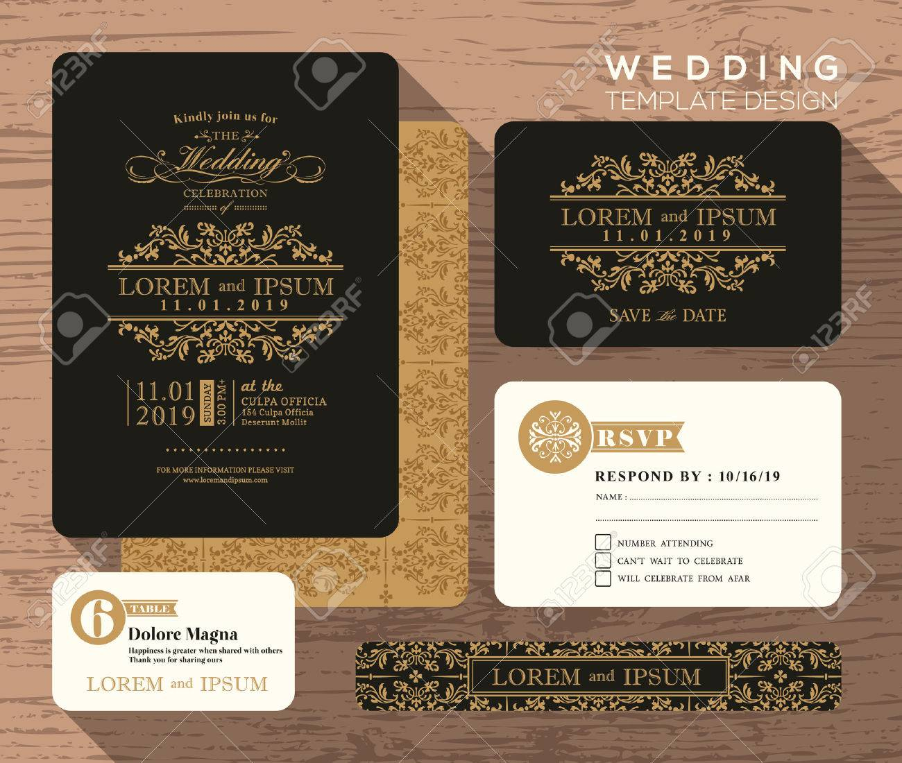 Vintage Classic Wedding Invitation Set Design Template Vector ...