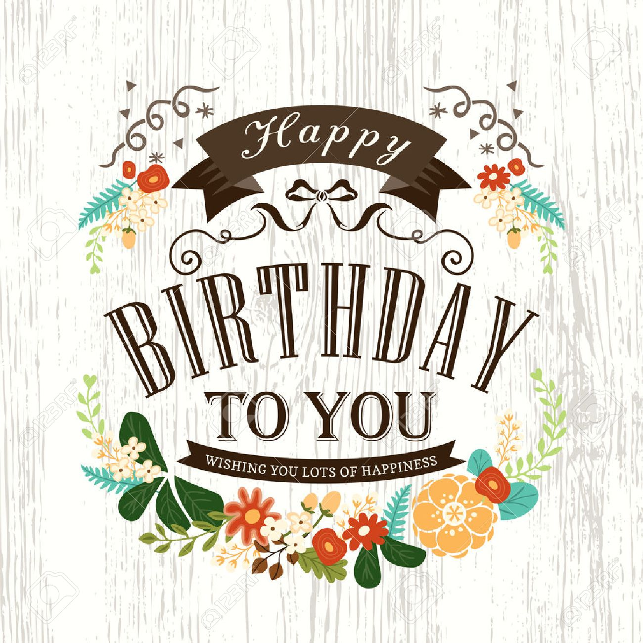 Cute Happy birthday card design with flowers ribbon banner and frame - 36279636