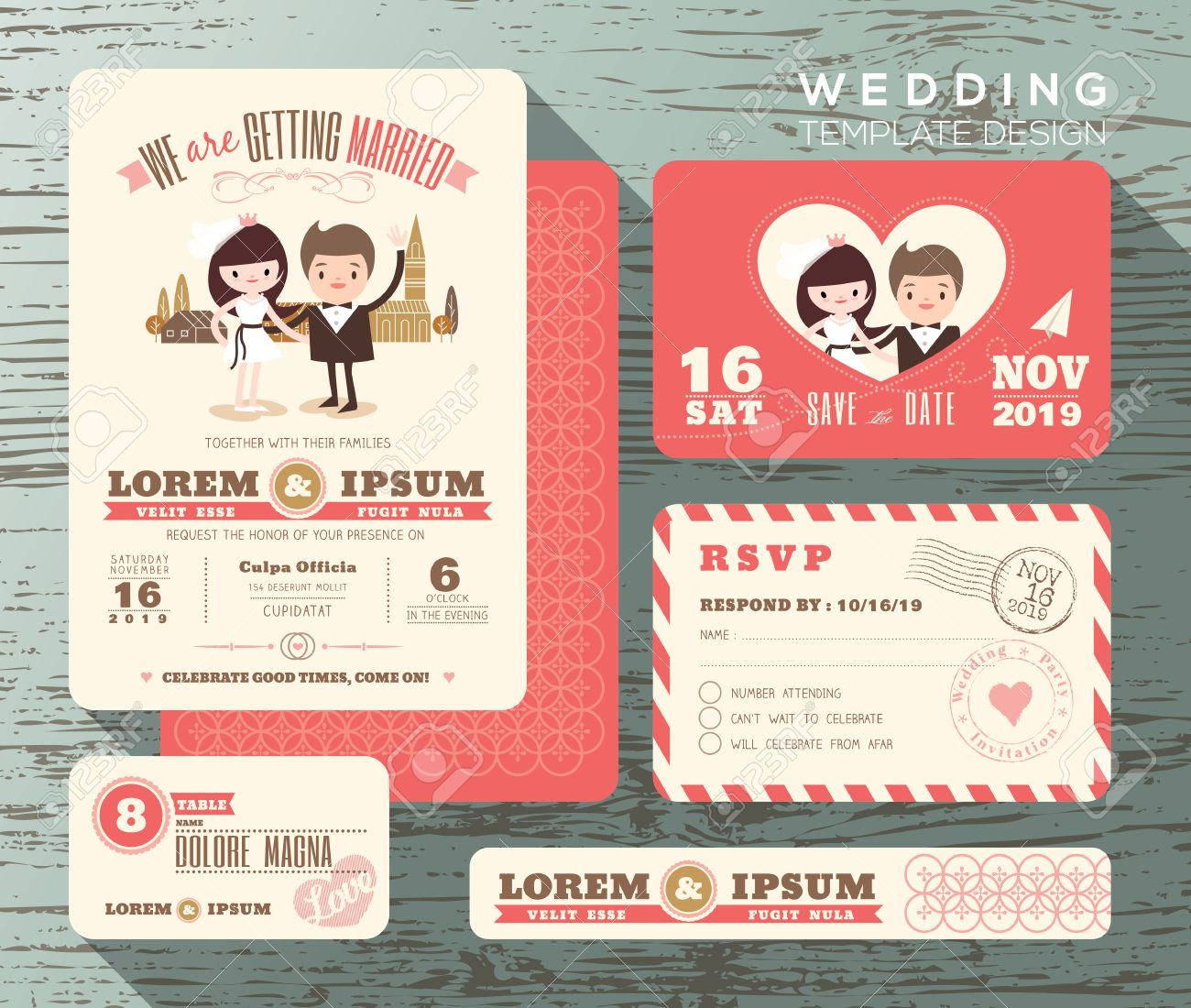 Cute Groom And Bride Couple Wedding Invitation Set Design Template ...