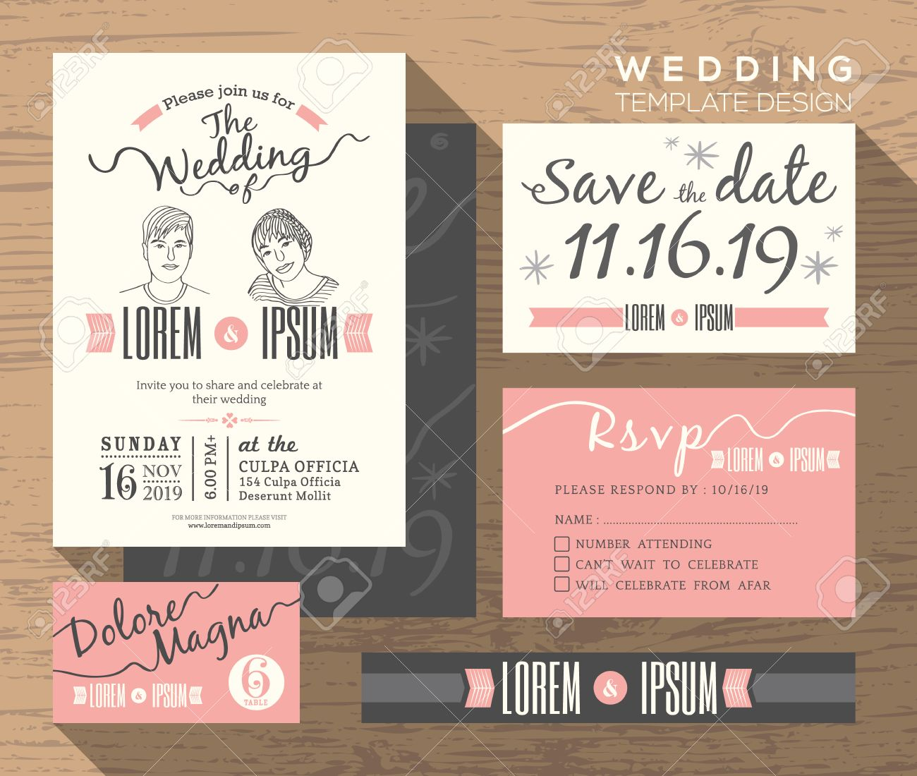 Wedding Invitation Set Design Template Vector Place Card Response – Wedding Save the Date Free Templates