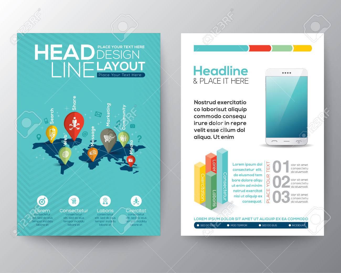 Brochure flyer design layout vector template in a4 size world brochure flyer design layout vector template in a4 size world map and pin with social network gumiabroncs Images
