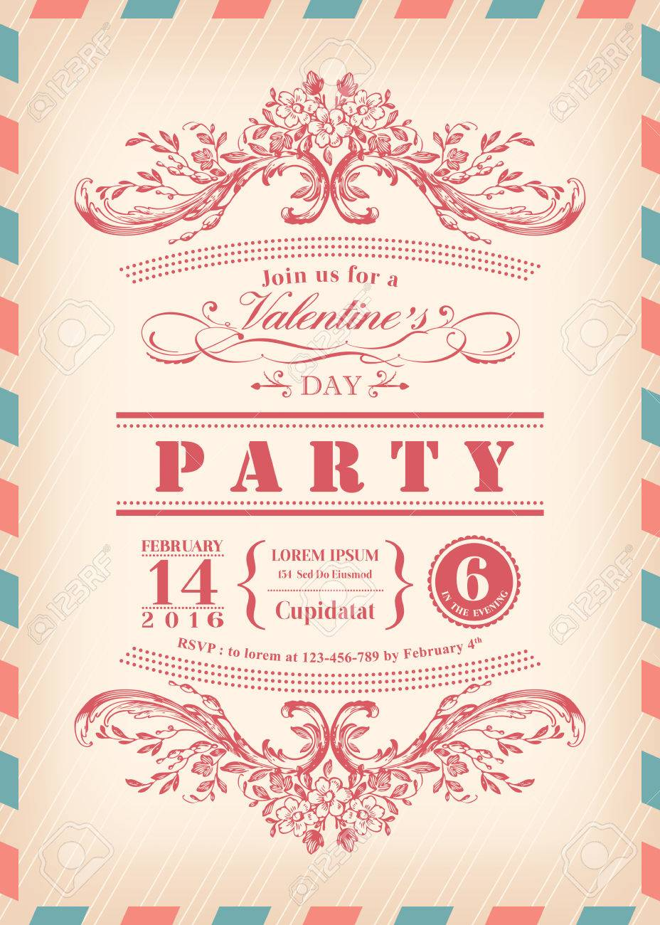 Valentine Day Card Party Invitation With Vintage Frame And Airmail ...