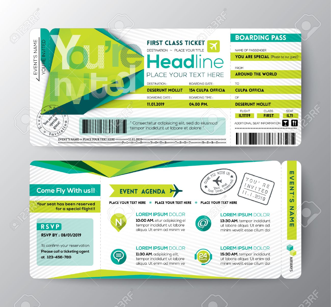 Abstract Polygon Design Boarding Pass Event Ticket Invite Card ...
