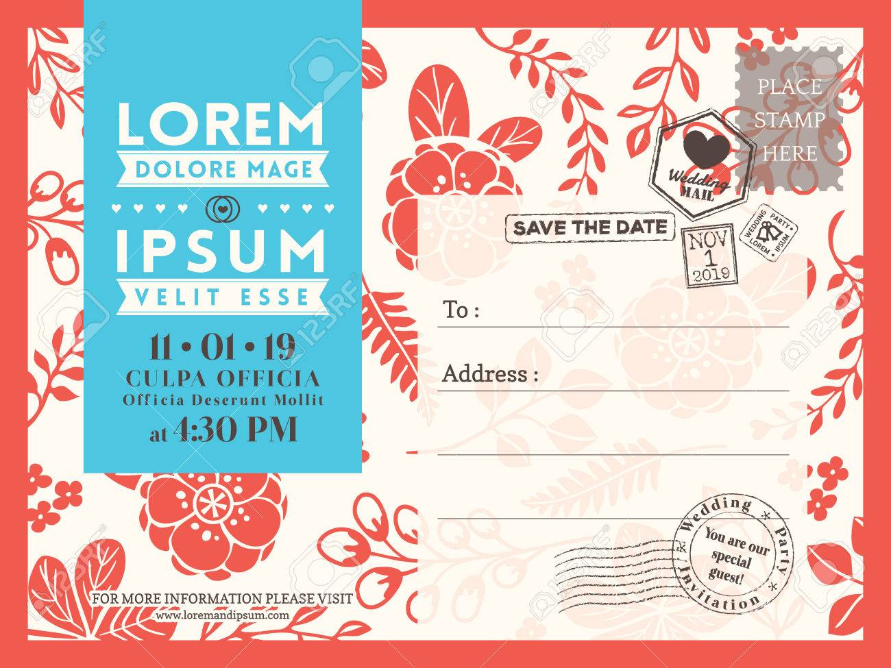 Floral Postcard Background Vector Template For Wedding Invitation - Card template free: postcard wedding invitations template