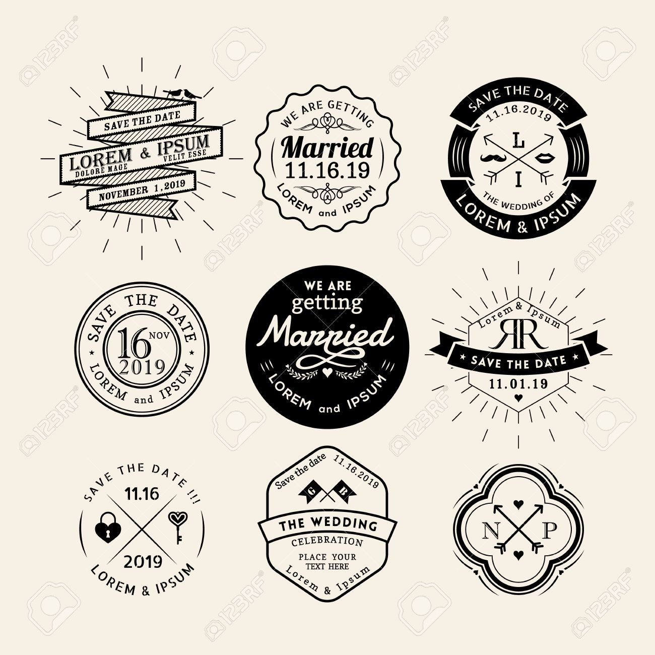 vintage retro wedding icon frame badge vector design element