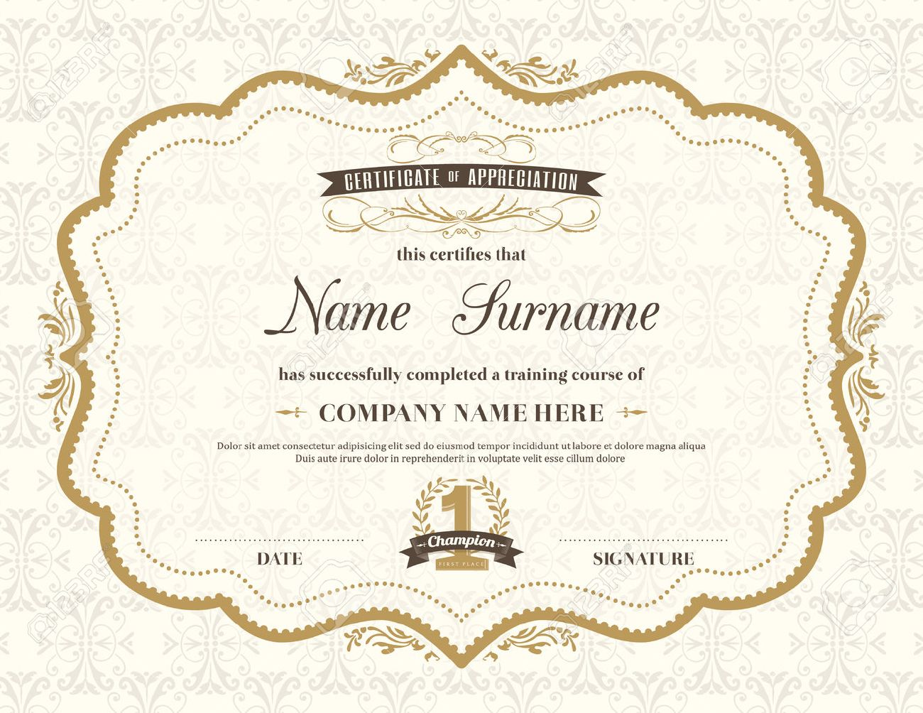 vintage retro frame certificate background design template royalty