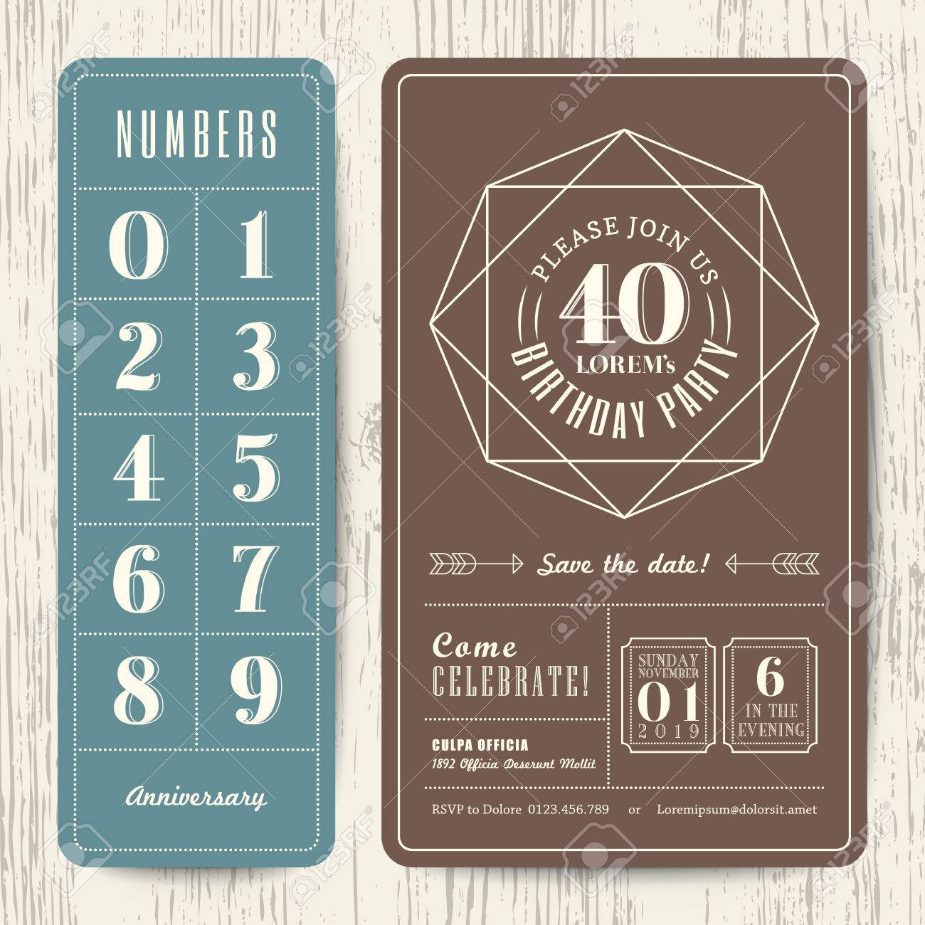 Retro birthday party invitation card with editable numbers template retro birthday party invitation card with editable numbers template stock vector 38898660 filmwisefo