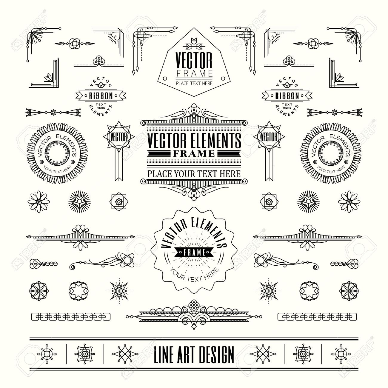 Set Of Linear Thin Line Art Deco Retro Vintage Design Elements ...