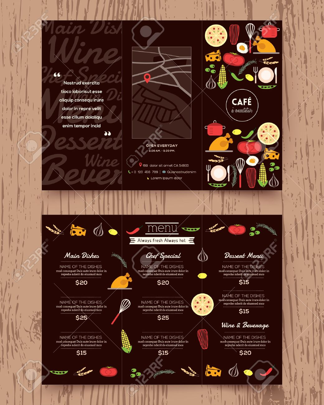 restaurant menu design pamphlet vector template in a4 size tri