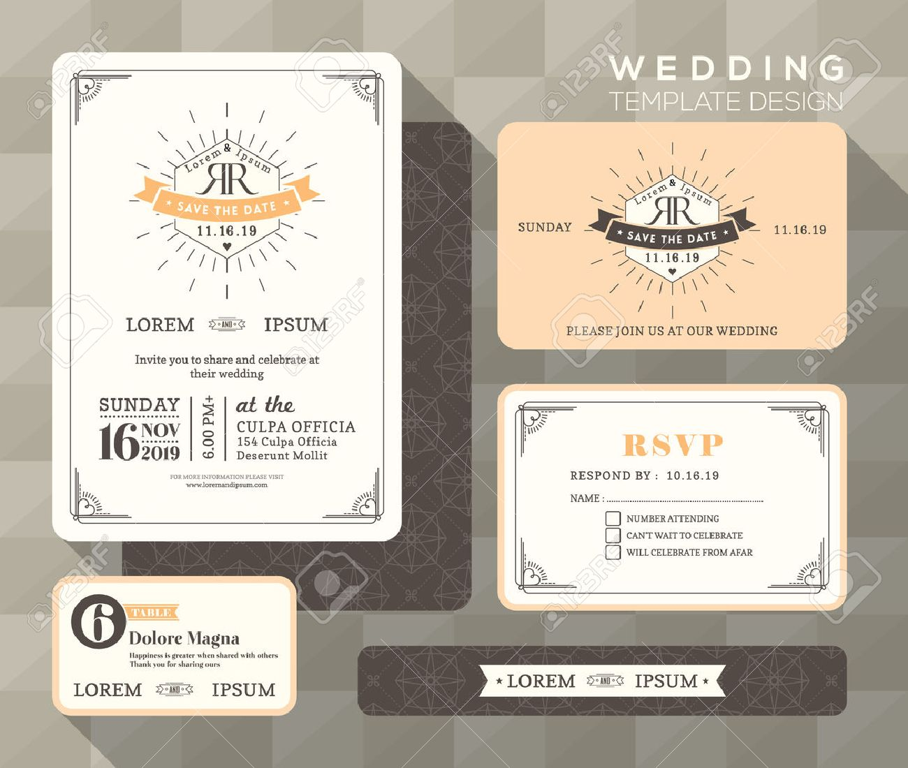 Vintage wedding invitation set design Template Vector place card response card save the date card - 39559140