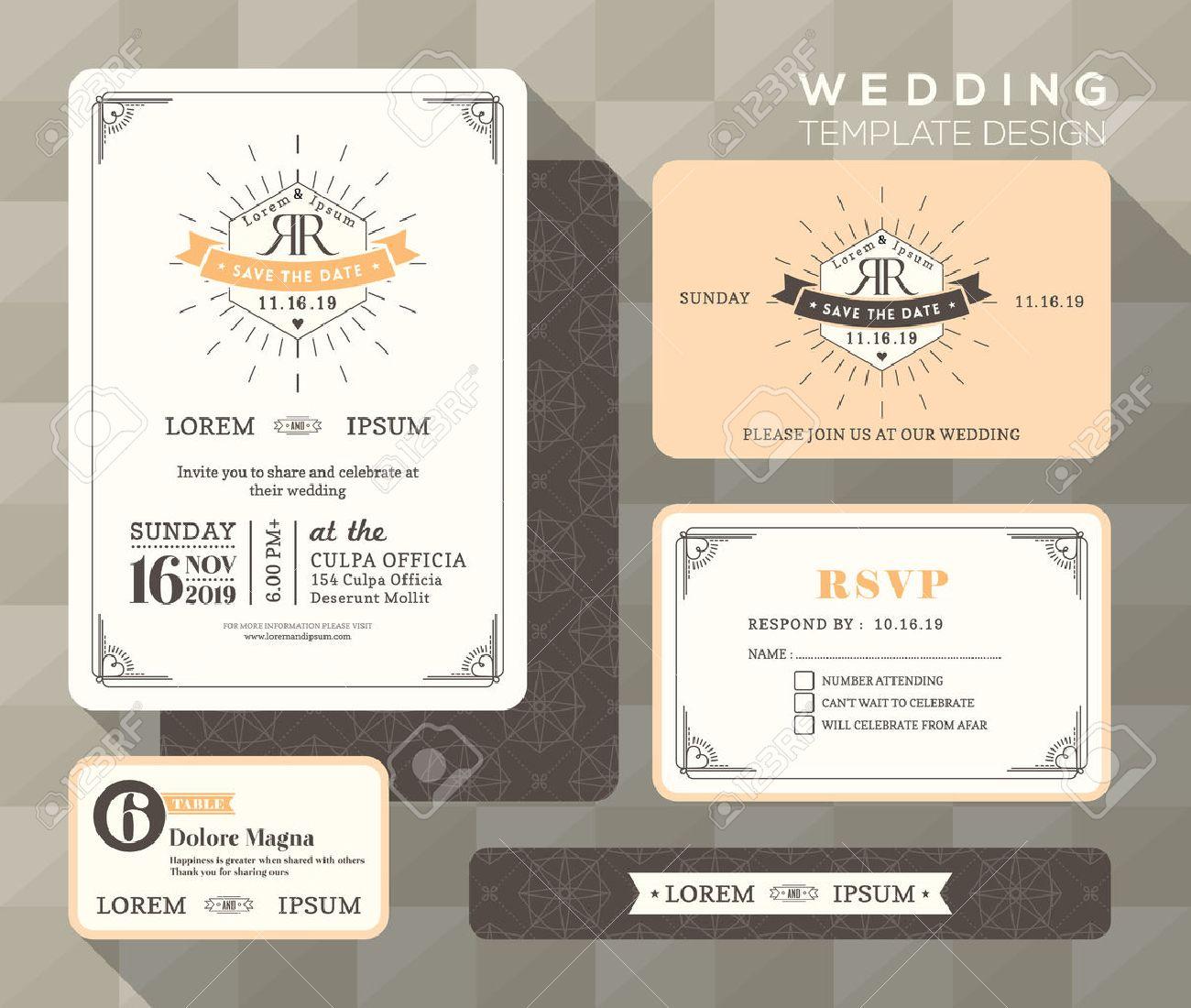 Vintage Wedding Invitation Set Design Template Vector Place Card ...