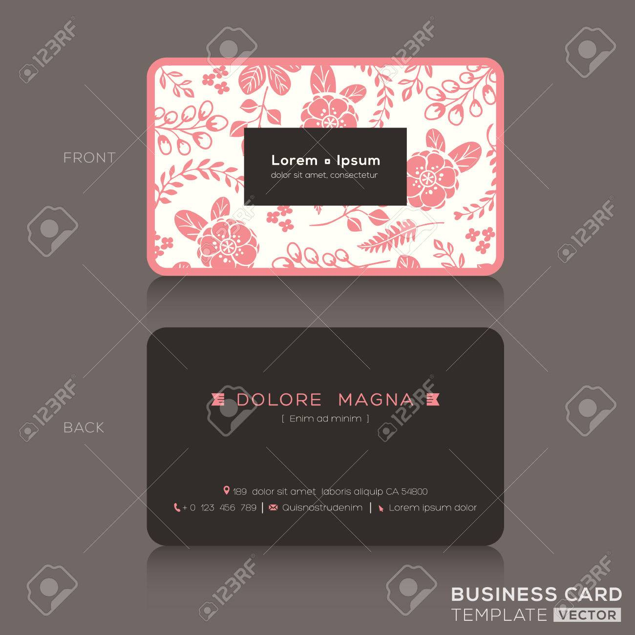 Cute business card design template with pink floral pattern cute business card design template with pink floral pattern background stock vector 39559360 accmission Choice Image
