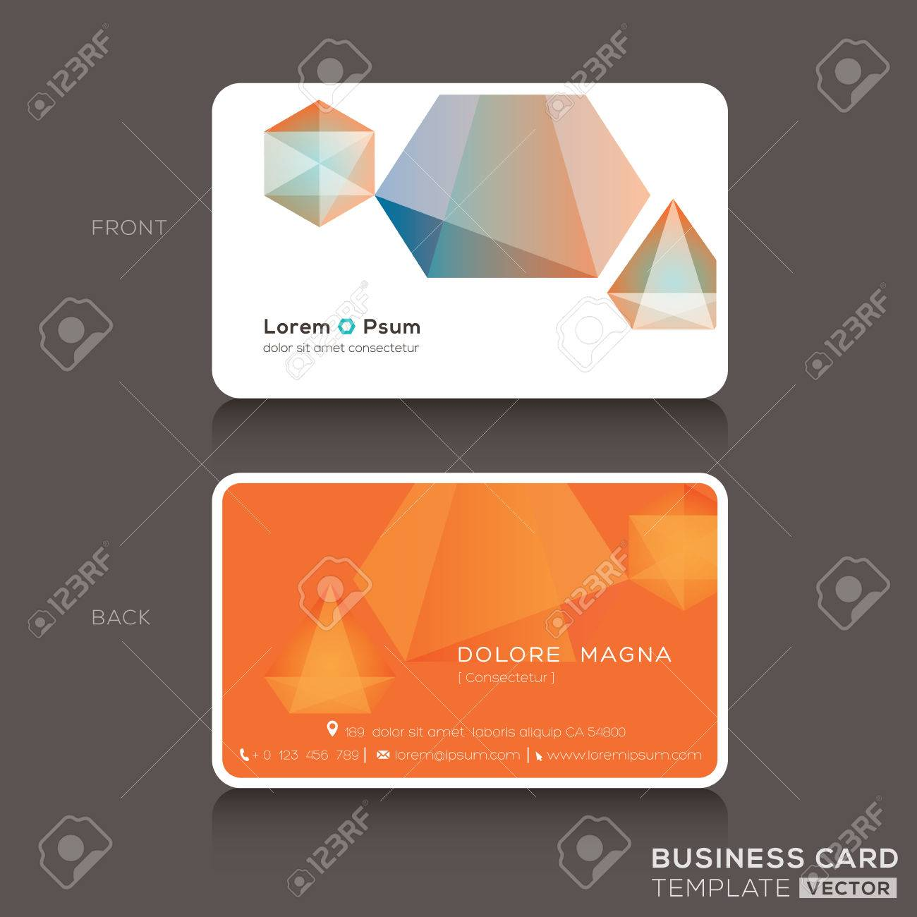 Modern Business Cards Design Template With Low Polygon Style ...