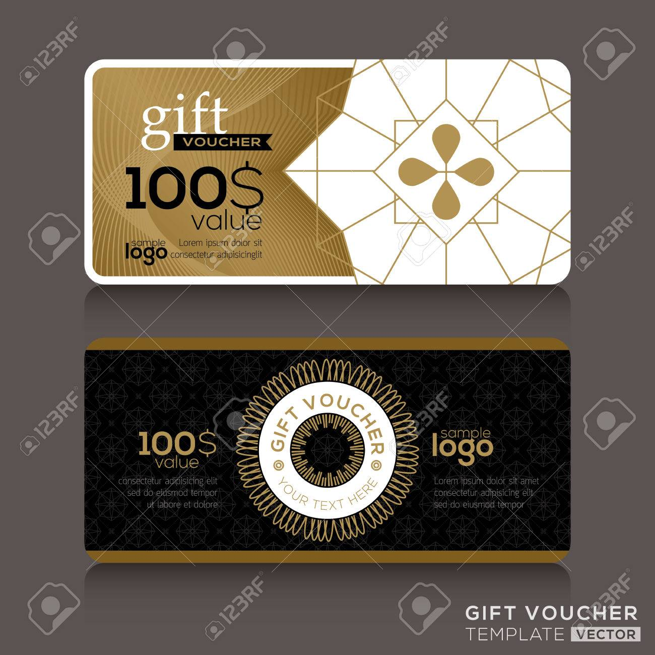 gift certificate voucher coupon template with gold guilloche
