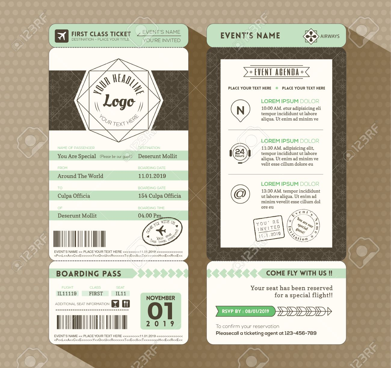 Hipster Design Boarding Pass Ticket Event Invitation Card Vector – Invitation Card for Event