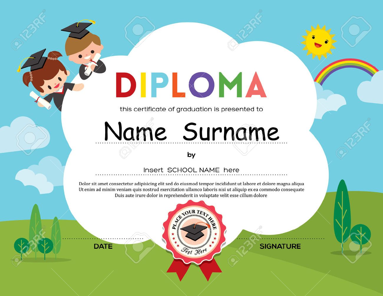 Preschool elementary school kids diploma certificate background preschool elementary school kids diploma certificate background design template 40296584 yelopaper Gallery