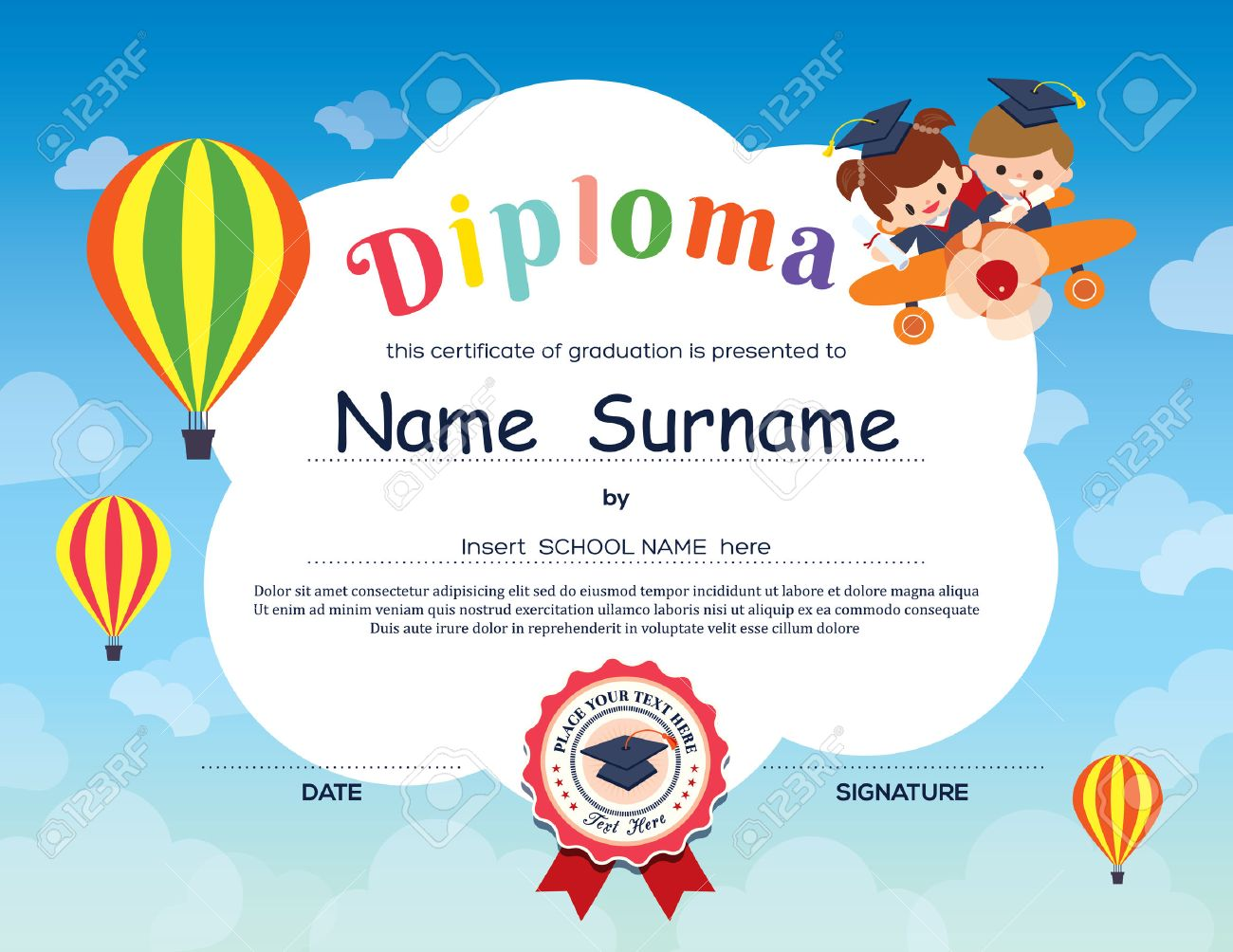 Preschool Elementary School Kids Diploma Certificate Background – Certificate of Achievement for Kids