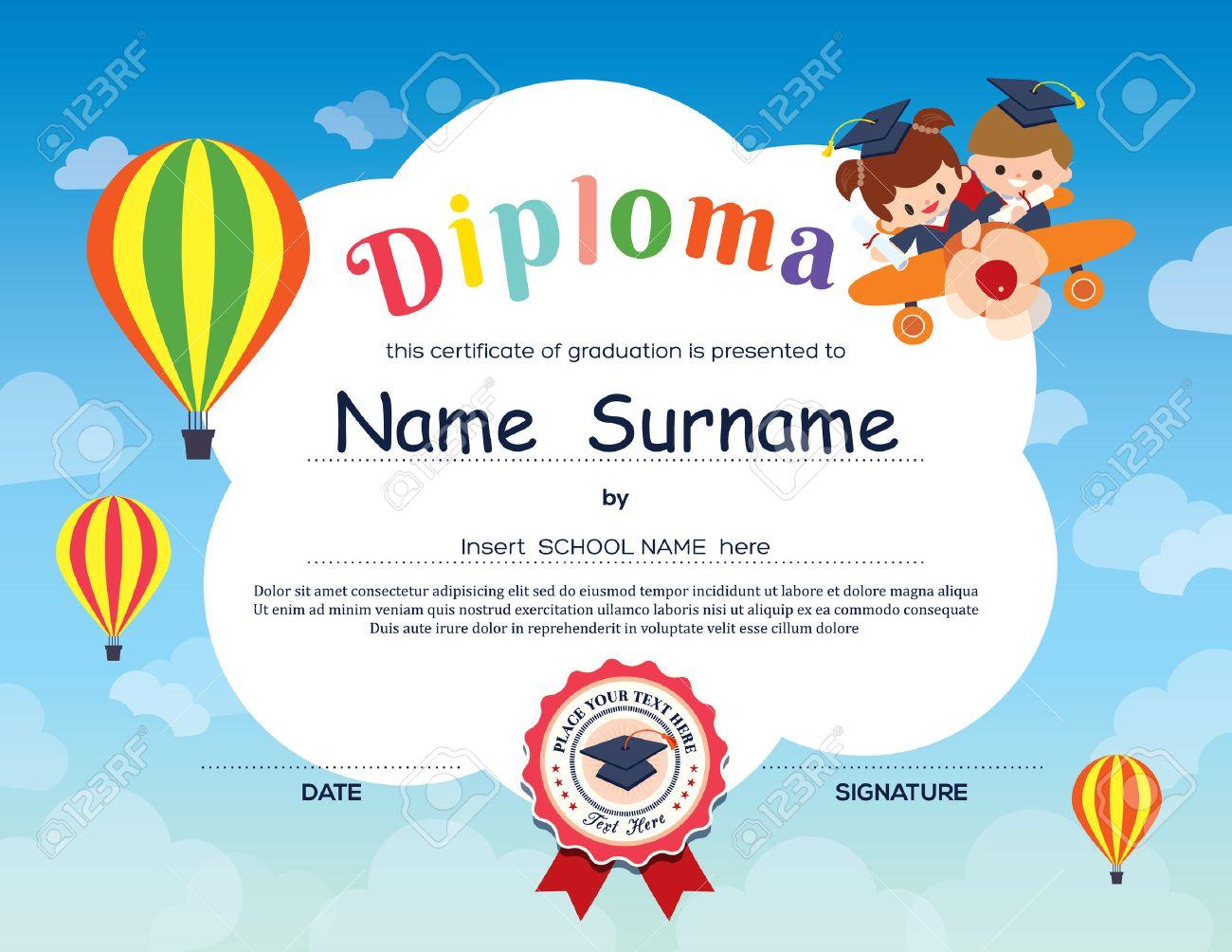 Preschool elementary school kids diploma certificate background preschool elementary school kids diploma certificate background design template stock vector 40949174 yelopaper Images