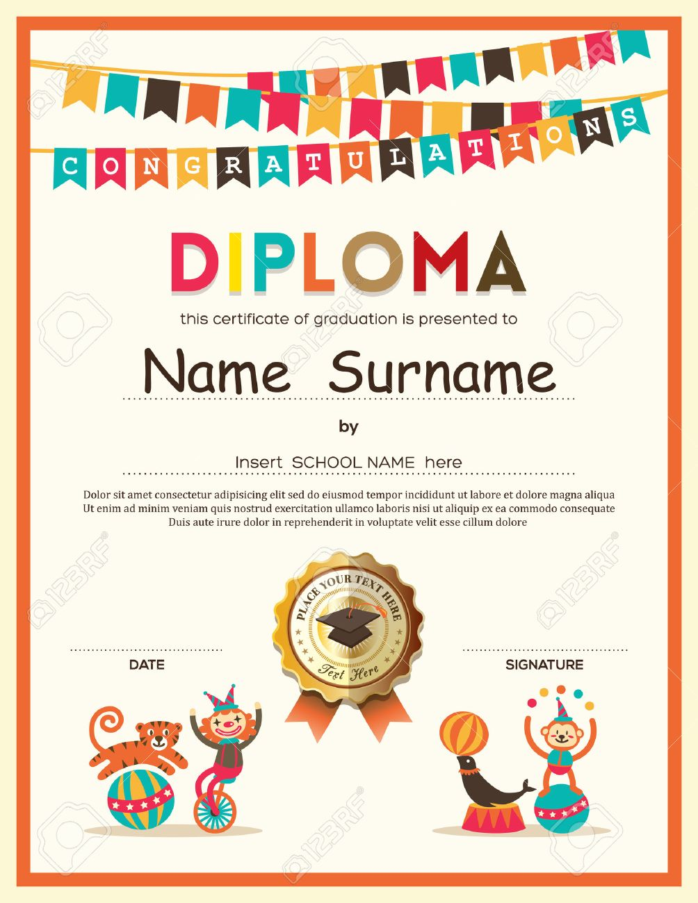 Preschool elementary school kids diploma certificate template preschool elementary school kids diploma certificate template with bunting flags background design stock vector 41500314 yadclub Image collections