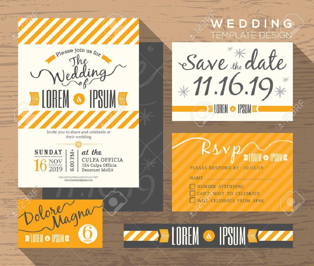 Modern yellow stripe theme design wedding invitation set template imagens modern yellow stripe theme design wedding invitation set template vector place card response card save the date card stopboris Image collections